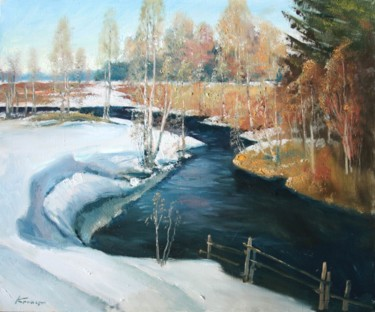 """Painting titled """"Spring on the river…"""" by Mark Kremer, Original Art,"""