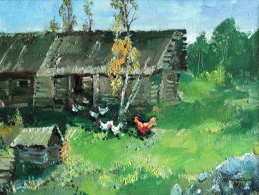"""Painting titled """"Summer in willage"""" by Mark Kremer, Original Art,"""