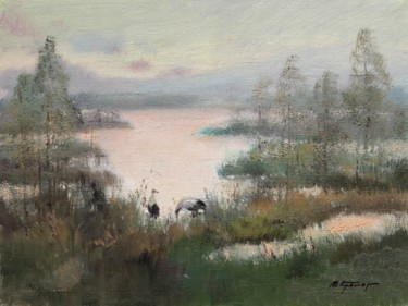 """Painting titled """"Cranes on the swamp"""" by Mark Kremer, Original Art,"""