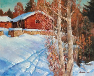 """Painting titled """"Red shed. March"""" by Mark Kremer, Original Art,"""