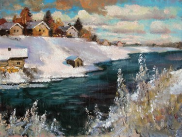 """Painting titled """"On Msta river. March"""" by Mark Kremer, Original Art, Other"""