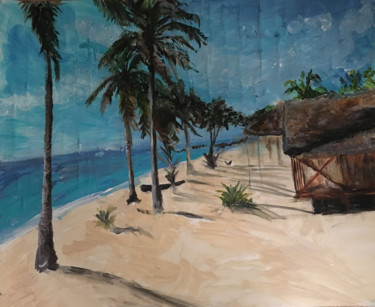"""Painting titled """"Palm Trees and Blue…"""" by Krirad, Original Art, Acrylic"""