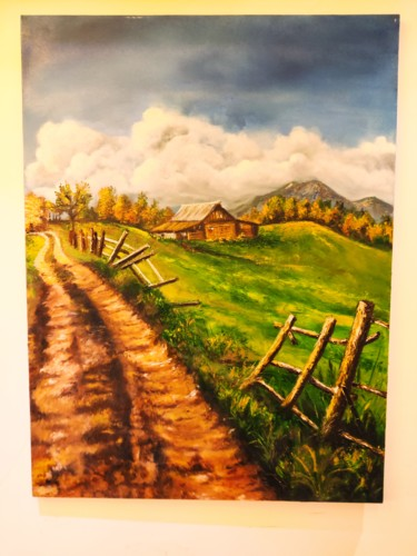 """Painting titled """"Country Road"""" by Geetu Thakur, Original Art, Oil"""