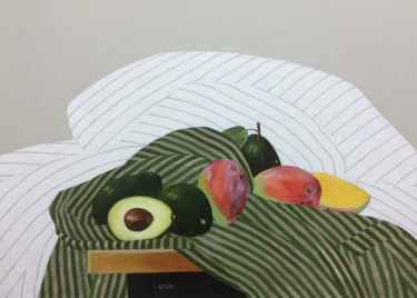 """Painting titled """"Mango and avocado.…"""" by Ксения Берестова, Original Art, Oil Mounted on Stretcher frame"""
