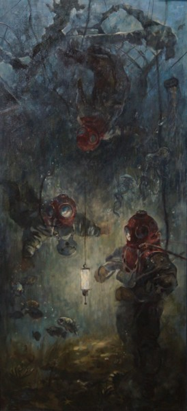 """Painting titled """"First divers"""" by Inna Kunitzina, Original Art, Oil"""