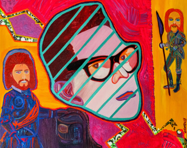 """Painting titled """"Sir Barry Gibb & Le…"""" by Dmytro Kurovskiy, Original Art, Oil Mounted on Wood Panel"""