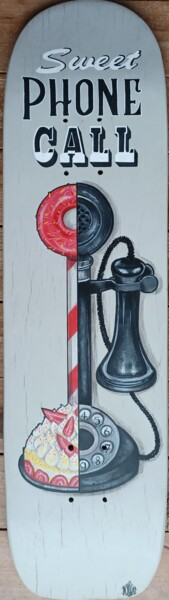 """Painting titled """"sweet phone call"""" by Kylla, Original Art, Acrylic"""