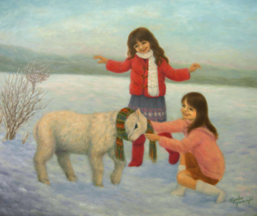 Painting, oil, naive art, artwork by Kyoko Yamaji