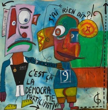 """Painting titled """"DÉMOCRATIE"""" by L.Gréo, Original Art, Acrylic Mounted on Stretcher frame"""