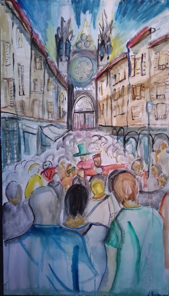 Painting, watercolor, artwork by Laurence Sauvignon