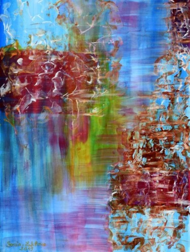 """Painting titled """"Les deux rives"""" by Sonia Lakhoua, Original Art, Acrylic Mounted on Cardboard"""