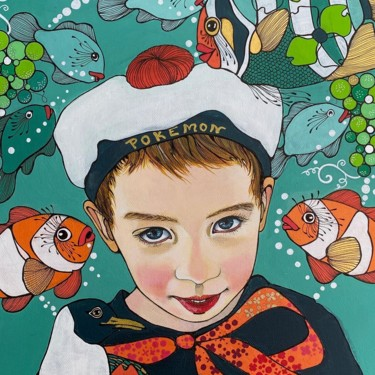 Kid Painting, acrylic, figurative, artwork by Aurelie Chauvin