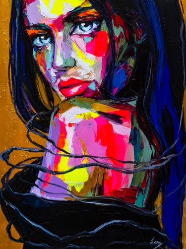 Women Painting, oil, expressionism, artwork by Lana