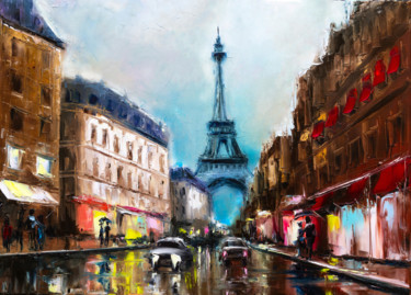 City Painting, oil, impressionism, artwork by Lana