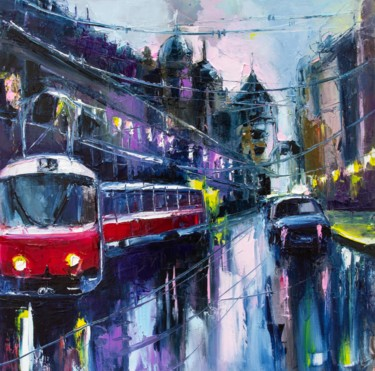 City Painting, oil, expressionism, artwork by Lana