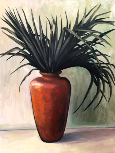 """Painting titled """"A Palm"""" by Lana Li, Original Art, Oil Mounted on Stretcher frame"""