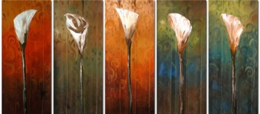 """Painting titled """"Calla Lilies"""" by Lang, Original Art, Oil"""