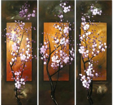 """Painting titled """"Plum Blossom"""" by Lang, Original Art, Oil"""