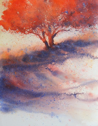 Tree Painting, watercolor, figurative, artwork by Stéphane Langeron