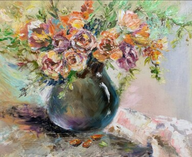 """Painting titled """"oil painting peach…"""" by Светлана Лановенко, Original Art, Oil"""