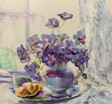 """Painting titled """"oil painting lilac…"""" by Светлана Лановенко, Original Art, Oil"""