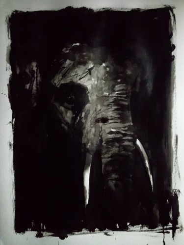 """Drawing titled """"Extinction : L185"""" by Laou, Original Art, Ink Mounted on Glass"""