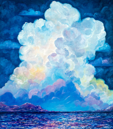 """Painting titled """"Night sky painting…"""" by Larisa Chigirina, Original Art, Oil Mounted on Stretcher frame"""