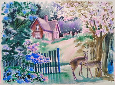 """Painting titled """"Forest landscape wi…"""" by Olga Larina, Original Art, Watercolor"""