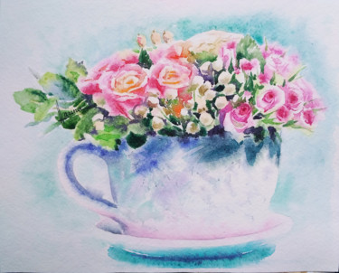"""Painting titled """"Bouquet in a cup"""" by Olga Larina, Original Art, Watercolor"""