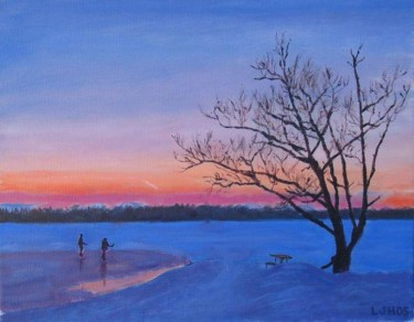 """Painting titled """"Shinny hockey"""" by Herscovitch Larry, Original Art, Oil"""
