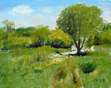 Countryside Painting, oil, impressionism, artwork by Herscovitch Larry
