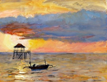 """Painting titled """"Carribean Sunset"""" by Herscovitch Larry, Original Art, Oil"""