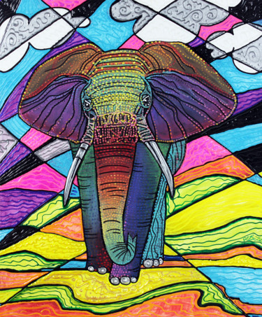 """Painting titled """"The Mighty Elephant"""" by Laura Barbosa, Original Art, Acrylic"""