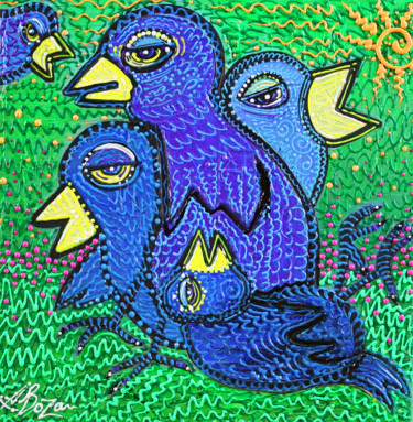 """Painting titled """"Birds Of Blue 2"""" by Laura Barbosa, Original Art, Acrylic"""