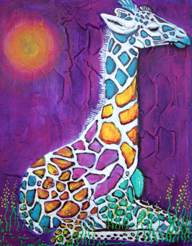 """Painting titled """"Giraffe of Many Col…"""" by Laura Barbosa, Original Art, Acrylic"""