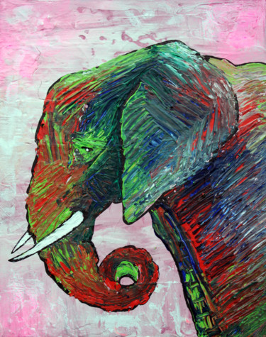 """Painting titled """"Elephant Colors"""" by Laura Barbosa, Original Art, Acrylic"""
