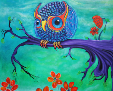 """Painting titled """"Enchanted Owl"""" by Laura Barbosa, Original Art, Acrylic"""