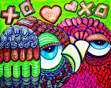 """Painting titled """"Owl Love"""" by Laura Barbosa, Original Art, Acrylic"""