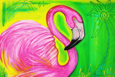 """Painting titled """"electric-flamingo-b…"""" by Laura Barbosa, Original Art, Acrylic"""