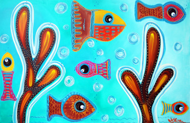 """Painting titled """"Quilted Fish"""" by Laura Barbosa, Original Art, Acrylic"""