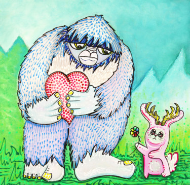 """Painting titled """"The Bigfoot and The…"""" by Laura Barbosa, Original Art, Acrylic"""