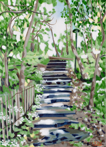 """Painting titled """"Forest Staircase"""" by Laura K Smith, Original Art, Acrylic Mounted on Stretcher frame"""