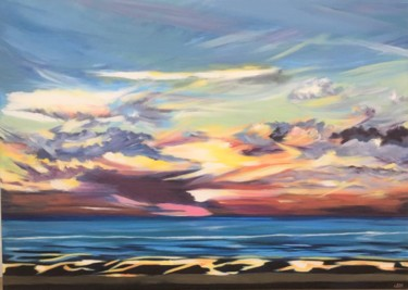 """Painting titled """"Blue Sunset"""" by Laura K Smith Paintings, Original Art, Acrylic"""