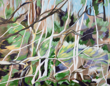 Forest Painting, acrylic, impressionism, artwork by Laura K Smith