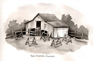 """Collages titled """"Sawhorse Coral"""" by Laura Lee Gulledge, Original Art,"""