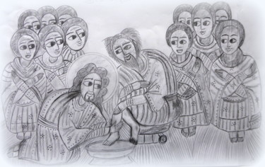 Icon Drawing, pencil, artwork by Laure Barlet