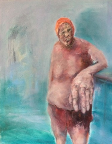 Masculine Painting, oil, expressionism, artwork by Laurence Pustoc'H