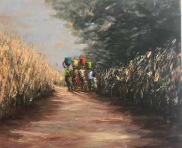 """Painting titled """"Back from the well…"""" by Laurence Blanchard, Original Art, Oil"""