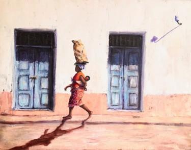 """Painting titled """"Street of Ilha - Il…"""" by Laurence Blanchard, Original Art, Oil"""