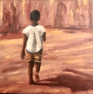"""Painting titled """"Walking Child - Ilh…"""" by Laurence Blanchard, Original Art, Oil"""
